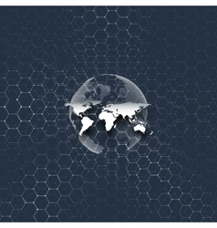 Blue world globe connecting lines and dots on vector image vector image