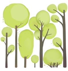 Cartoon Watercolor Trees Set vector image vector image