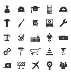 engineering icons on white background vector image vector image