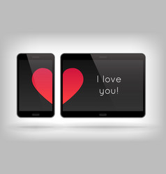 love on phone vector image vector image