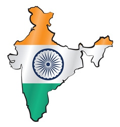 Map of India with flag vector image vector image