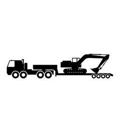 Silhouette of the excavator on the trawl vector image vector image