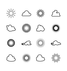 Sun and Cloud Line Style Design vector image