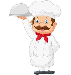Cartoon Chef Serving Food In A Sliver Platter vector image vector image