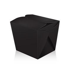 closed black blank wok box mockup 3d vector image