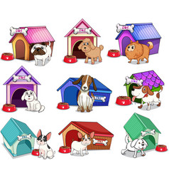Dogs with houses vector image vector image