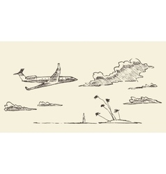 Drawn vacation airplane island sketch vector image vector image