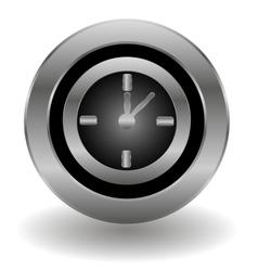 Metallic clock button vector image vector image