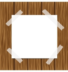 Paper message and wood background vector image vector image