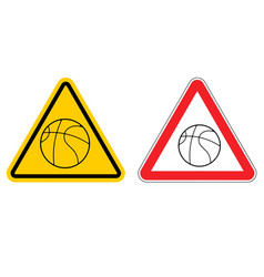 warning sign basketball attention dangers yellow vector image