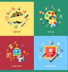 digital blue red artist icons vector image vector image