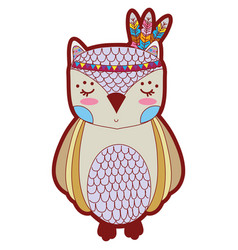 Line color cute owl animal with feathers design vector
