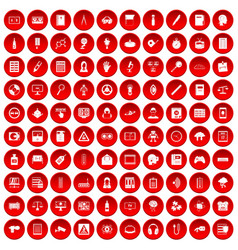 100 information icons set red vector