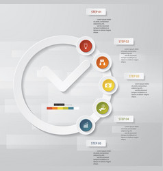 5 steps order in clock shape template vector