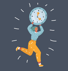 a female woman in trouble with clock vector image