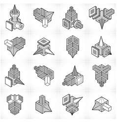 Abstract three dimensional shapes set designs vector