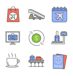 Airport service color icons set vector