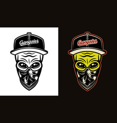 alien head in baseball cap and bandana on face two vector image