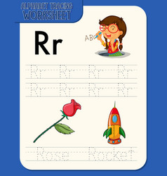 alphabet tracing worksheet with letter r and r vector image