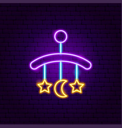 Baby hanging toys neon sign vector