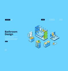 bathroom design isometric landing page empty room vector image