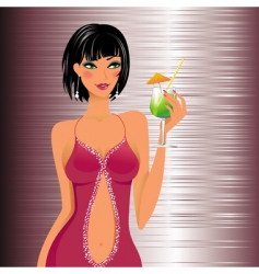 Beautiful girl with a cocktail vector