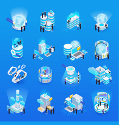 big data isometric set vector image