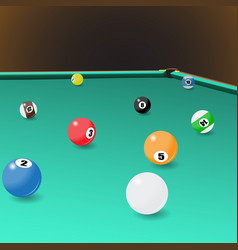 Billiard game balls position on a pool table vector