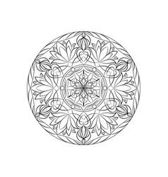 Black color mandala over white vector