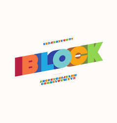 block font 3d bold style modern typography vector image