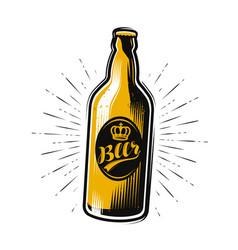 bottle beer drink pub brewery vintage vector image