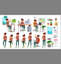 Business woman character set working vector