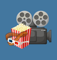 camera for filming and package popcorn vector image
