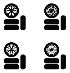 Car wheel icon set vector