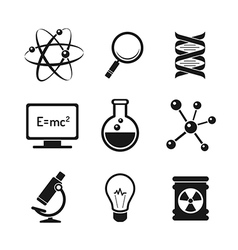 Chemistry and science icons set vector image