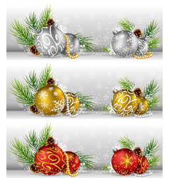 christmas background with pine cone ball and fir vector image