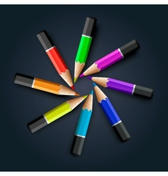 Colored pencils on grey background vector