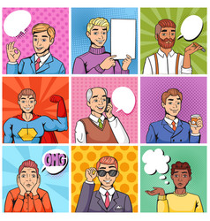 comic man popart cartoon businessman vector image