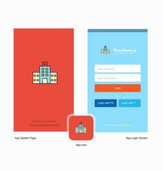 Company hospital splash screen and login page vector