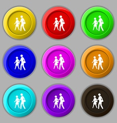 crosswalk icon sign symbol on nine round colourful vector image