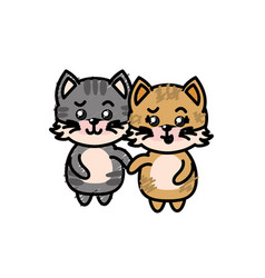 cute couple cat wild animal with beautiful vector image