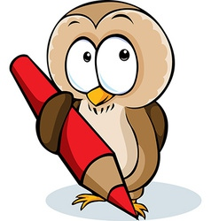 cute owl hold pencil cartoon - isolated on w vector image vector image