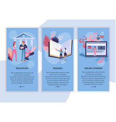 Education reading and online courses web pages vector