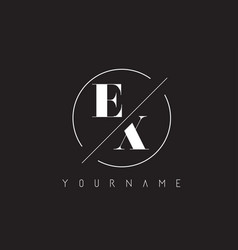 Ex letter logo with cutted and intersected design vector