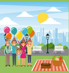 Family celebrating birthday in the park with cake vector