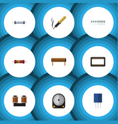 Flat icon electronics set of receptacle mainframe vector