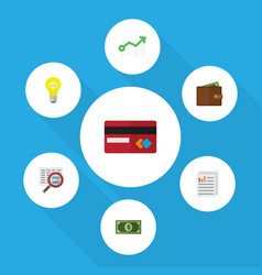 Flat icon gain set of billfold growth scan and vector