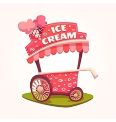 Flat of Ice Cream cart vector