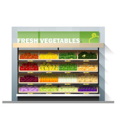 Fresh vegetables display on shelf in supermarket vector