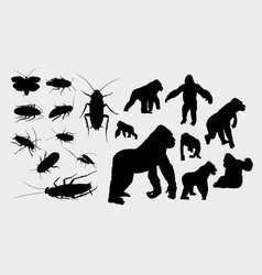 gorilla and insect silhouette vector image